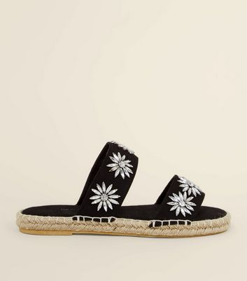 Black Gem Flower Strap Espadrille Sliders