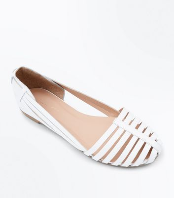 White Leather Woven Caged Ballet Pumps