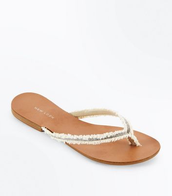 Cream Embellished Fray Strap Flip Flops