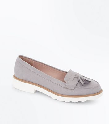Grey Suedette Tassel Chunky Loafers
