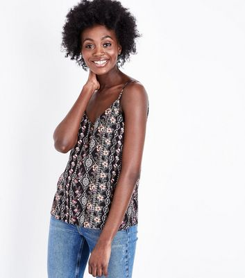 Black Floral Stripe V Neck Cami