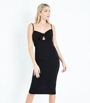 Black Bow Front Bodycon Midi Dress