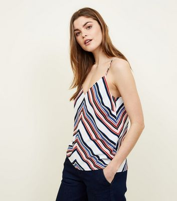 White Chevron Stripe V Neck Cami