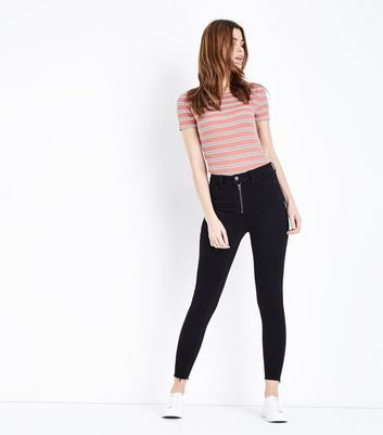 Black Zip Front High Waist Super Skinny Hallie Jeans