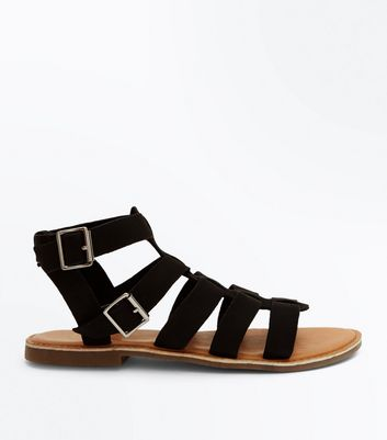Wide Fit Black Leather Gladiator Sandals