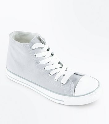 Grey Canvas Stripe Sole High Top Trainers
