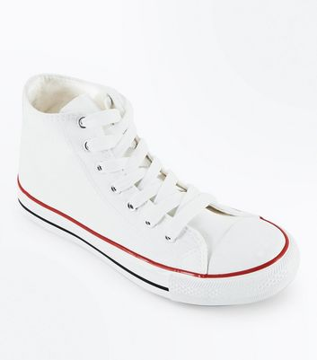 White Canvas Stripe Sole High Top Trainers