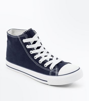 Navy Canvas Stripe Sole High Top Trainers