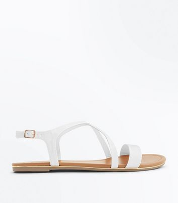 Wide Fit White Metal Edge Flat Sandals