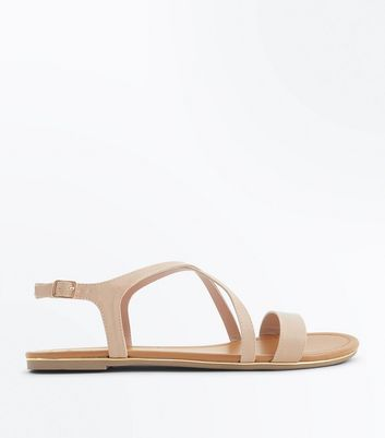 Wide Fit Nude Metal Edge Strappy Sandals