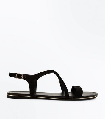 Wide Fit Black Suedette Metal Edge Strappy Sandals