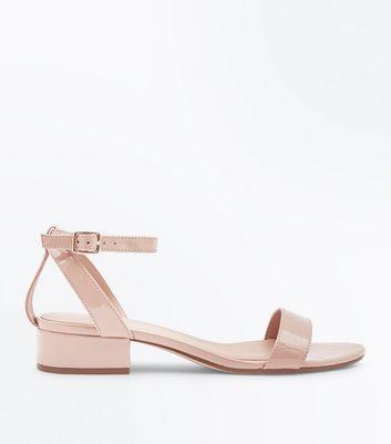 ... Nude Patent Low Block Heel Sandals