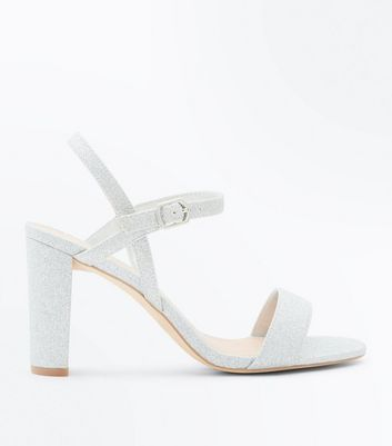 Wide Fit Silver Glitter Block Heel Wedding Sandals by New Look