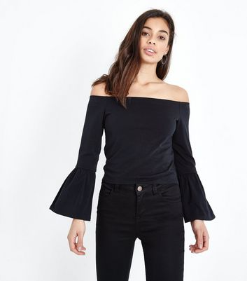 Petite Black Bell Sleeve Bardot Neck Top