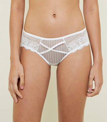 White Lace Stripe Mesh Strap Briefs