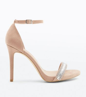 Wide Fit Cream Suedette Crystal Embellished Heels