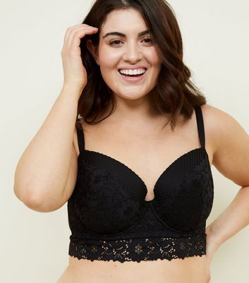 Curves Black Cotton Lace Longline Bra
