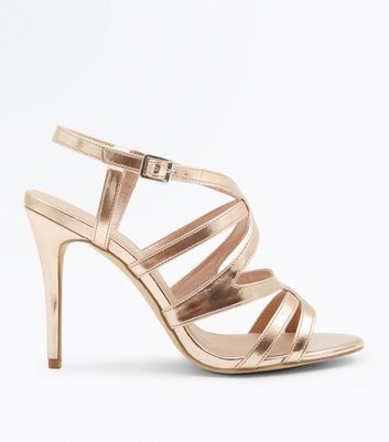 Wide Fit Rose Gold Metallic Caged Wedding Shoes