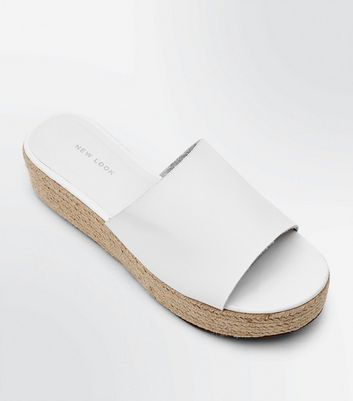 White Flatform Espadrille Sliders
