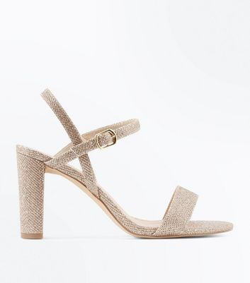 Wide Fit Gold Glitter Block Heel Sandals