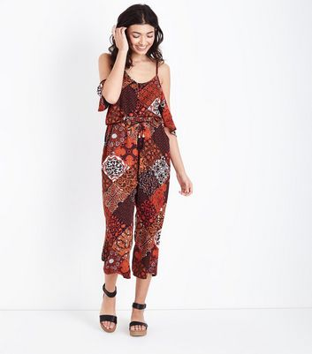 Blue Vanilla Rust Tile Print Jumpsuit