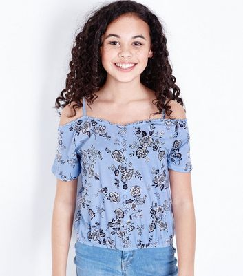 Teens Blue Floral Cold Shoulder Top