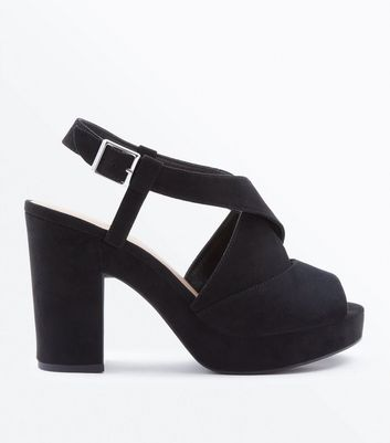 Black Suedette Cross Strap Block Heels