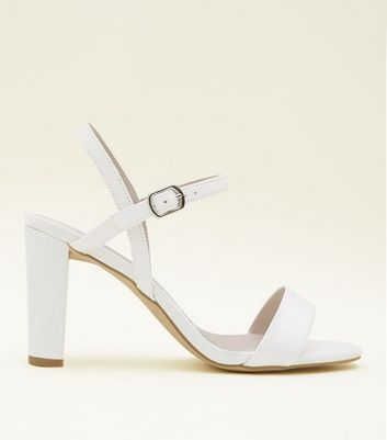 Wide Fit Off White Satin Heeled Wedding Shoes
