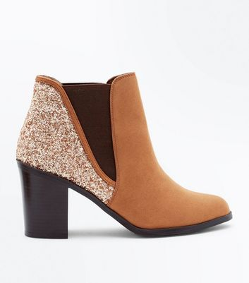 Tan Glitter Back Block Heel Ankle Boots
