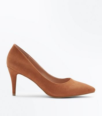 Wide Fit Tan Suedette Pointed Court Shoes