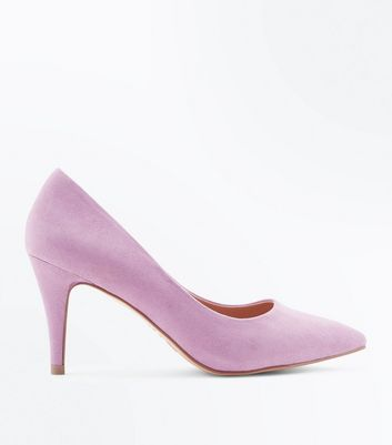 Wide Fit Lilac Suedette Pointed Court Shoes