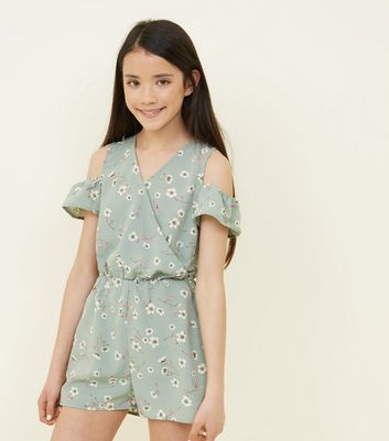 Teens Green Floral Cold Shoulder Playsuit