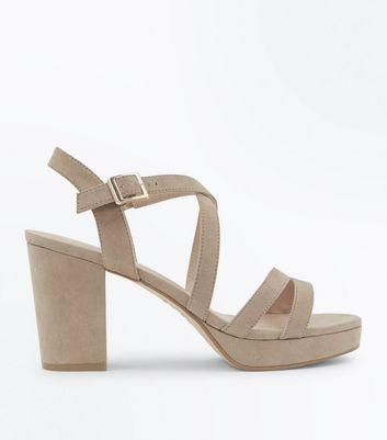 Brown Suedette Strappy Block Heel Sandals