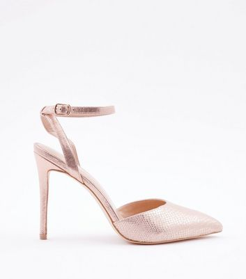 Rose Gold Faux Snakeskin Two Part Pointed Heels