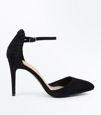 Black Suedette Ribbon Trim Pointed Heels