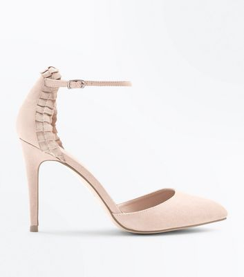 Nude Suedette Ribbon Trim Pointed Heels