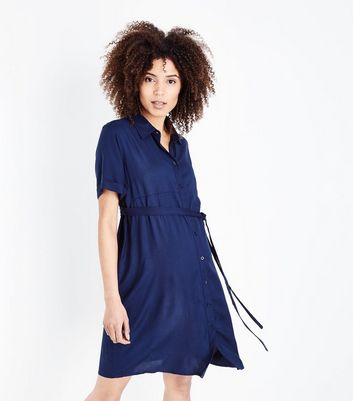 Maternity Blue Short Sleeve Shirt Dress