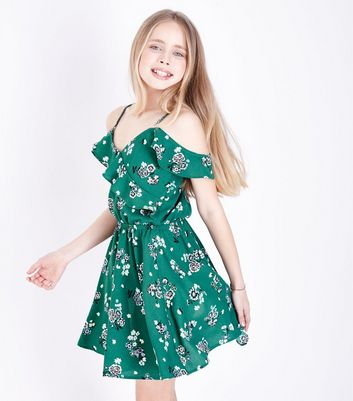 Teens Green Floral Frill Cold Shoulder Dress