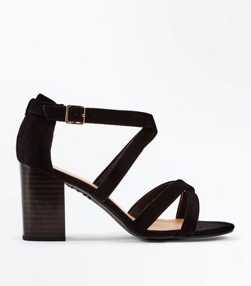 Wide Fit Black Suedette Strappy Wood Heels