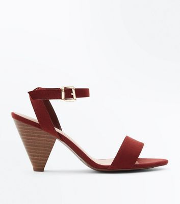 Wide Fit Rust Suedette Wood Cone Heel Sandals