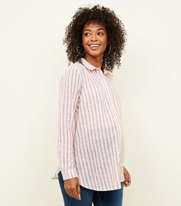 Maternity Pink Stripe Crinkle Cotton Shirt