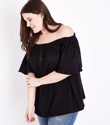 Curves Black Lace Panel Bardot Neck Top