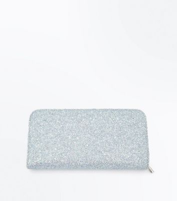 Pale Blue Glitter Large Purse by New Look