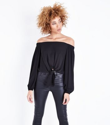 Black Tie Front Bardot Neck Top