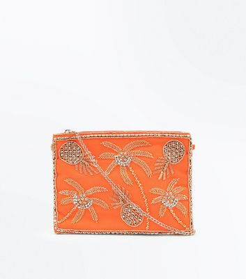 Coral Tropical Bead Embellished Clutch Bag