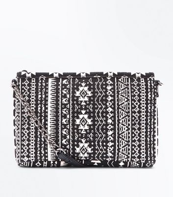 Black Aztec Diamanté Embellished Clutch