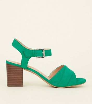 Green Comfort Flex Suedette Block Heel Sandals