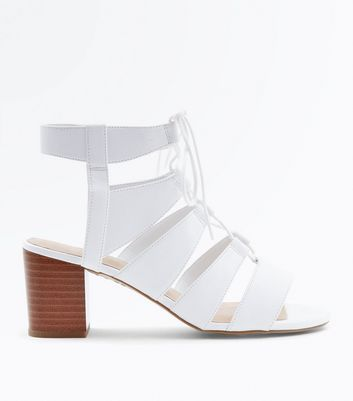 White Comfort Flex Ghillie Block Heels