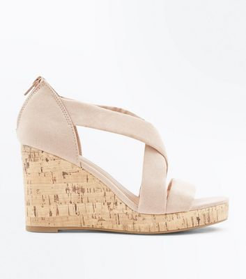 Cream Suedette Cross Strap Cork Wedges