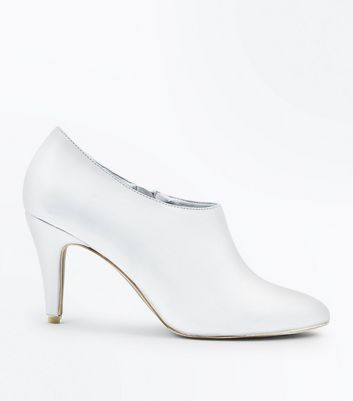 Wide Fit White Cone Heel Shoe Boots